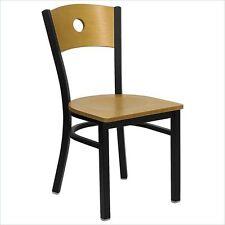 Flash Furniture Hercules Black Circle Back Metal Restaurant Chair Natural Wood