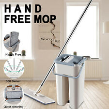 360 Wet Dry Mop Bucket Rinse Wash Squeeze Flat Cleaner Household 2 Pads Wet Dry