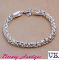 Ladies 925 Sterling Silver Twisted Rope Bracelet Thick Chain+ Free Gift Bag