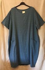 "New ITALIAN Lagenlook 100% COTTON Balloon Shape 2 Pockets Tunic Top 50"" Denim"