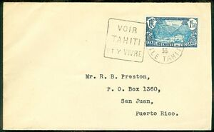 FRENCH POLYNESIA : Scarce 1935 destination cover to Puerto Rico with good value