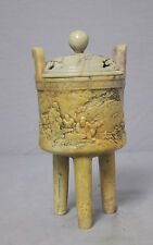 Nice  Hand  Carved  Chinese  Tripod  Stone  Censer