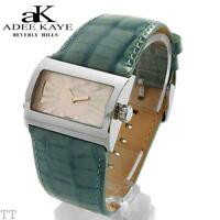 ADEE KAYE Ladies Watch Swiss Rectangle Stainles Steel/Teal Leather-New Old-Stock