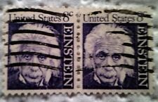 1966 U. S. Scott 1285 Albert Einstein two used and cancelled eight cent stamps