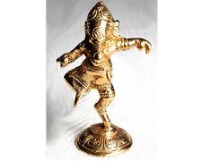 Lord GANESH Ganesha Dancing Hindu God Solid Brass STATUE Elephant Figurine INDIA