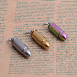 Titanium Mini Bullet Waterproof Storage Pill Box Seal Capsule Pendant Necklace