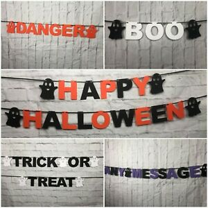 Halloween Banner bunting Party decorations Ghosts bespoke Personalised Danger