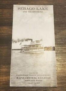 1915 SEBAGO LAKE AND ENVIRONS MAINE CENTRAL RAILROAD RR Brochure Illustrated