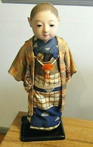 "Vintage 15"" Ichimatsu Boy Gofun Doll Japanese Child Silk Layered Kimono Ningyo"