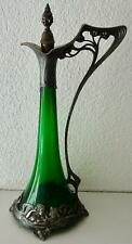Outstanding AK & Cie (WMF) Art Nouveau Claret Jug: Maiden Heads: Green Glass