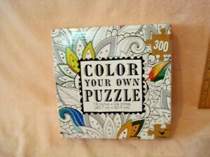 Color Your Own Jigsaw Puzzle 300 Pieces Flower Coloring Cardinal NEW 18 x 24""