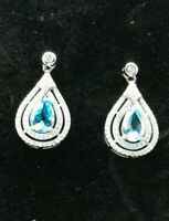 Natural Blue And White Topaz Dangle Earrings Solid Sterling Silver