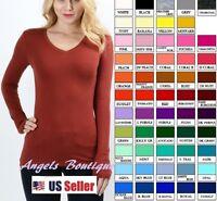 Women Plain  V-NECK  Long Sleeve  Tee, T Shirt  Stretch Cotton Blend