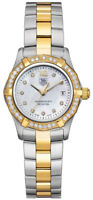TAG HEUER AQUARACER WAF1450.BA0814 DIAMOND PEARL 18K GOLD LADIES SWISS WATCH