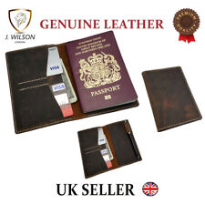 Passport Wallet Hunter Leather Designer Travel Document Cover Card Pen Holder