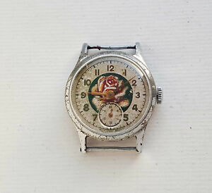 OIL Painting Vintage Russian mechanical watch Pobeda USSR rare collectible watch
