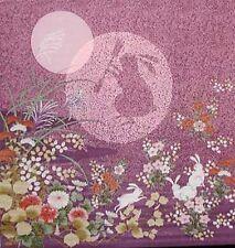 MOON RABBIT: Asian Japanese 100% Rayon Chirimen Fabric Panel