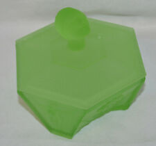 "Beautiful Art Deco Ramses Green Satin Glass Covered Powder Jar ""Hexagon"""