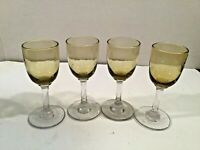 Set of 4 Vintage Yellow Amber Glass Clear Stem Cordial Liqueur Glasses