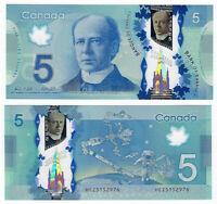 CANADA $5 Dollars UNC (2013) P-106c Wilkins & Poloz POLYMER Banknote
