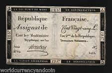 FRANCE 125 LIVRES 1793 ASSIGNAT UNIQUE PICTORIAL FRENCH CURRENCY MONEY BILL NOTE