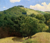 Dream-art Oil painting beautiful summer hills landscape with green forest canvas