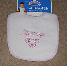 New Mommy Loves Me Terry Vinyl Baby Bib Embroidered Pink Girl Cute