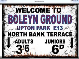 Retro Boleyn Ground Sign, Football sign, West Ham sign. Retro wall sign
