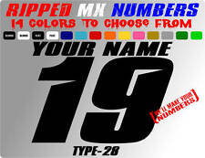 RIPPED NAME MX NUMBER PLATE DECALS MOTOCROSS MOTORCYCLE STICKERS RACING GRAPHICS