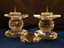 "Vintage Swarovski ? Crystal Double Pin European Style Candleholder 6"" L 3 3/8""h"