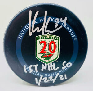 "KAAPO KAHKONEN Autographed Wild ""1st NHL SO 1/22/21"" Official Puck FANATICS"