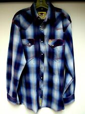 Vtg Larry Mahan Cotton Mens Western Shirt Plaid Diamond Shape Snap Blue Red L Eu