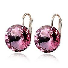 Big Round Pink Crystal Hoop Earrings 18k Rose Gold GP Gorgeous Women Gift E895