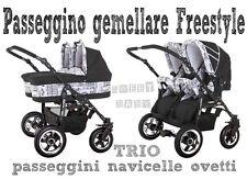 Passeggino gemellare freestyle TRIO navicelle ovetti nero+biaco city