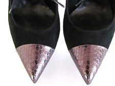 Roberto Festa Two Tone Black-Silver Pointy Toe Shoe Boot spiike metal Heels 8.5M