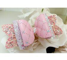 "Kimberley Pink Glitter Sequin Fabric Hair Bow Clip 3.5"""