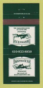 Matchbook Cover - Harryman House Reisterstown MD 30 Strike