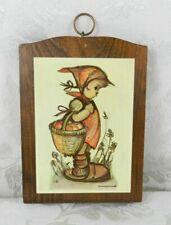 "Hummel Wood Wall Plaque ~ Girl with Basket 7-1/4"" x 5-1/4"""