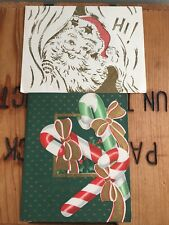 2 Vintage Christmas Cards Santa Hi and Candy Canes Die Cut Pop up 50s Gold Used