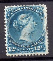 Canada 1868 12 1/2c deep blue SG60 Large Head good used WS18135