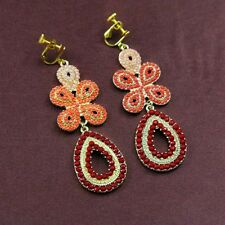 Rings`Ears Clip Long Pendant Coral Orange Pink Evening Marriage Gift A3