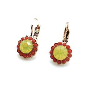 Mariana Earrings Flower Shape Beaded Yellow Opal & Orange Opal Swarovski Crys...
