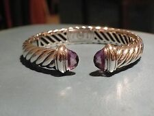 David  Yurman Sterling Silver Amethyst Waverly Cable Bracelet