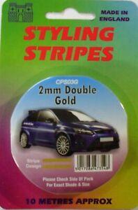 Gold 2mm x 10mtr Twin Self Adhesive Car Pin Stripe Coach Tape Styling Stripe