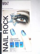 NAIL ROCK Designer Nail Wraps - NR047 - Blue and Gold Stars - Made in UK - NEW