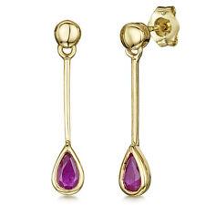 9ct Gold Pearshape Ruby Drop Earrings 4mm x 23mm