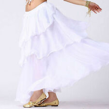 TMS WHITE Spiral Skirt Belly Dance 3 layer Circle Costume Gypsy Club HOT JUPE