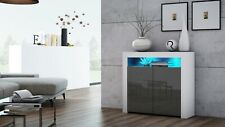 Modern 107cm Sideboard Cabinet Cupboard Buffet - High Gloss Doors - LED - K2D