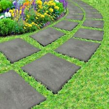 More details for primeur 30cm square slate grey stomp stone stepping stone garden recycled rubber