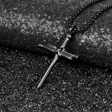 Men's Necklace Stainless Steel Nail Gold Cross Pendant Necklace Chain 24 inch